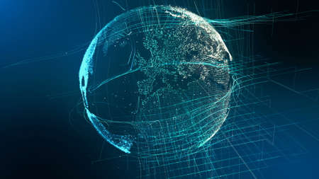 Motion Particle Earth Digital Globe Cyber Concept. Planet Network Data Abstract World Map Business Background. Universe Connection Landscape Scenery Outer Space Exploration 3D Rendering Animation Stock Photo
