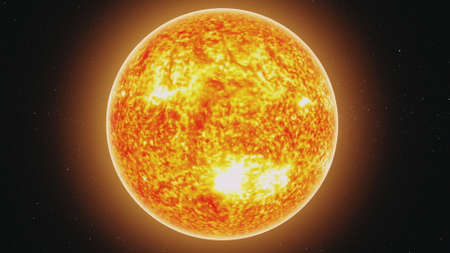 motion graph yellow Sun model with burning lava orange halo moves away in endless outer space with stars. 3d animation. Science and technology concept.