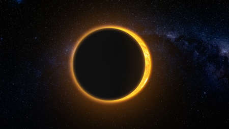 Full solar eclipse. The Moon mostly covers the visible Sun creating a gold diamond ring effect. Abstract scientific background. High detail 3D Render.