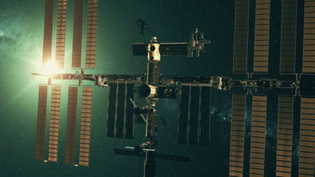 Modern International Space Station with solar panels in outer space against green star light. 3d render animation.