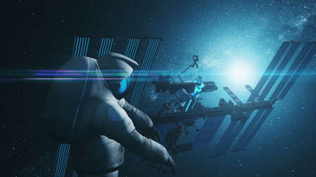 Spaceman in spacesuit flies at blue and black International Space Station lit by starlight. 3d render animation. Science and technology concept. Фото со стока