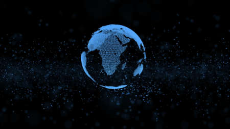 3d animation of isolated globe model with blue mainlands disintegrating to information units in dark flashing background. Motion graph. Digitized world and blue ocean strategy concept. Big data. Фото со стока