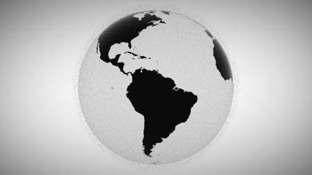 3d animation blurry black flashing points surround rotating black and white planet Earth globe model inrensively in grey background. Motion graph. Outer space rubbish concept. Sputnik groups. Фото со стока