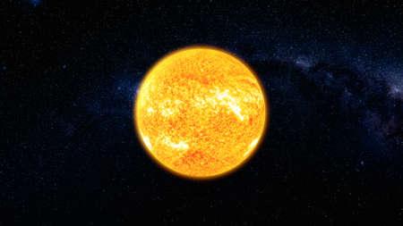 Blick aus dem Weltraum auf die Sonnenoberfläche mit Sonneneruptionen rotieren im schwarzen Universum in Sternen. Abstrakter wissenschaftlicher Hintergrund. Hochdetaillierte 3D-Render-Animation.