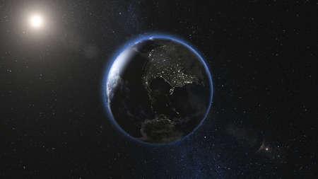 Tierra realista, girando en el espacio contra el fondo del cielo estrellado y el Sol (bucle). Cambio planetario de día y de noche. Render 3D de alto detalle.
