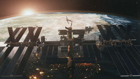 International Space Station spaceflight at Earth sunset in 3d animation.