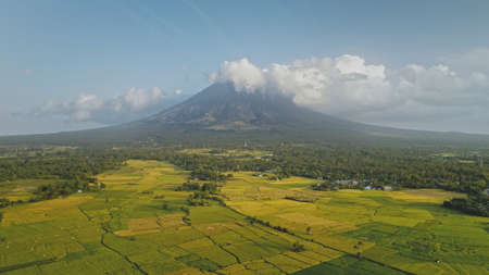 Green meadow at Mayon volcano eruption aerial. Nobody nature landscape of cloudy fog above mount. Tropic scenery of natural beauty of Legazpi countryside, Philippines, Asia. Cinematic drone shot