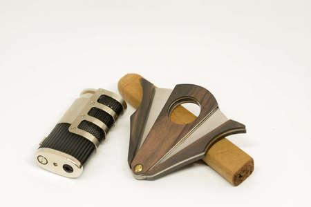 Smoking set lighter cuter and hand made cigar Banco de Imagens