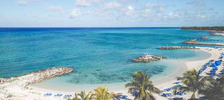 Drone shoot of tropical paradise Princes Cays Island, Bahamas
