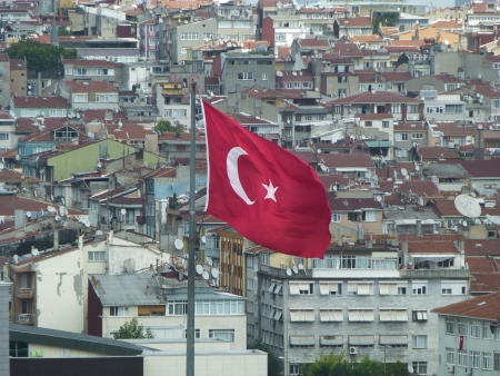 Turkish flag in Istanbul photo