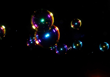 soap bubbles at night photo