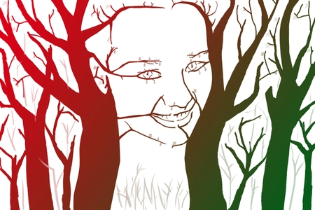 Silhouette of woman shaped by tree llustration  photo