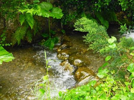 Kleiner Wasserfall in fließenden Fluss Standard-Bild - 62500246