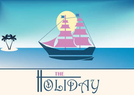 to sunbathe: holiday poster concept with sailing boat on sea