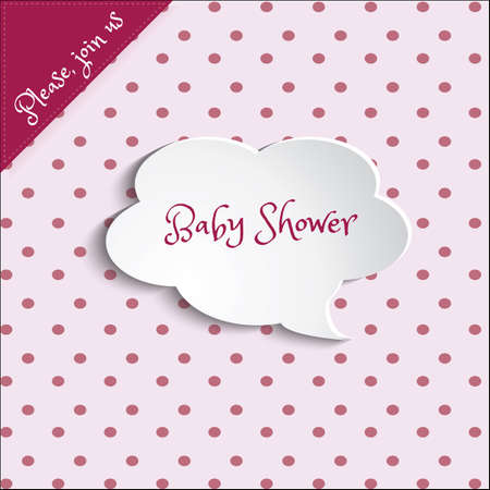 baby girls: Illustration of baby shower invitation card for baby girls