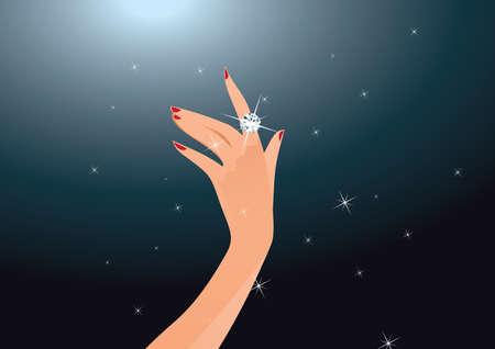 ring: Illustration of diamond ring on woman finger