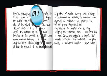 signify: Illustration of notebook writing the definition of idea on it signify with magnifying glass