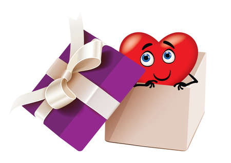 Illustration of heart shape in a gift box Vector
