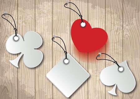 playing card symbols: Ilustraci�n de s�mbolos de la tarjeta de juego que cuelga en la pared de madera Vectores