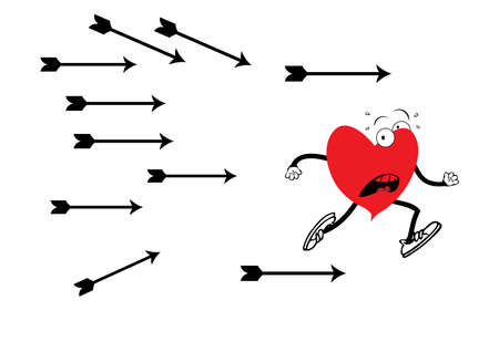 running off: Illustration of heart which is running off from arrows