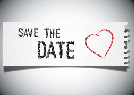 save the date note on a ripped paper Illustration