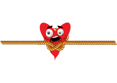 strangling: Illustration of heart which is strangling with a bowstring