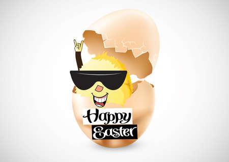 creative egg painting: illustration of easter rock n roll chick Illustration