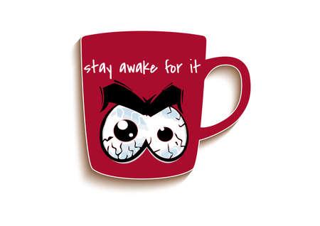 Illustration of sleepy eyes on coffee mug