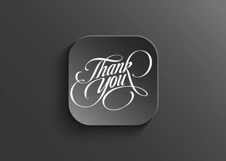 Illustration of thank you word on black vector button Illustration