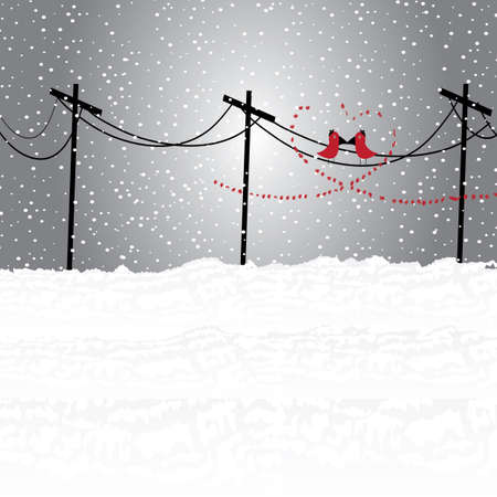 telephone pole: Illustration of winter land with lover birds Illustration