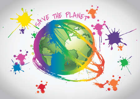 ecological damage: Illustration of earth with paint splashes around