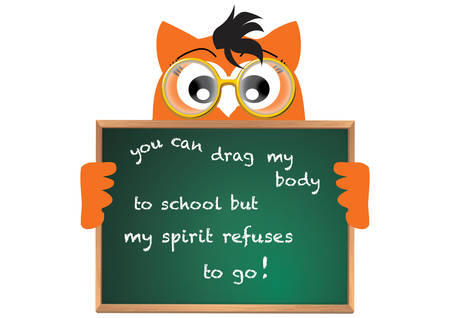 Illustration of owl holding chalkboard Vector
