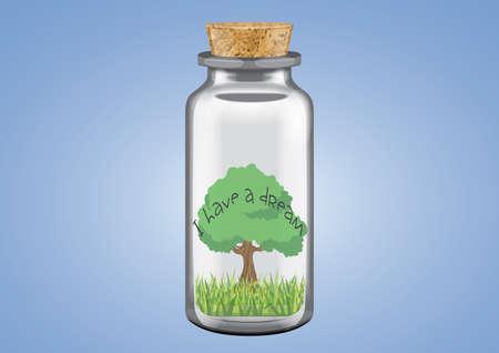 ecological damage: Illustration of tree in a bottle