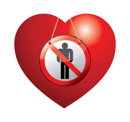 human being: Heart shape with No Human Being Allowed sign