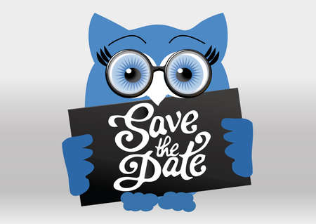 Funny owl holding save the date signboard