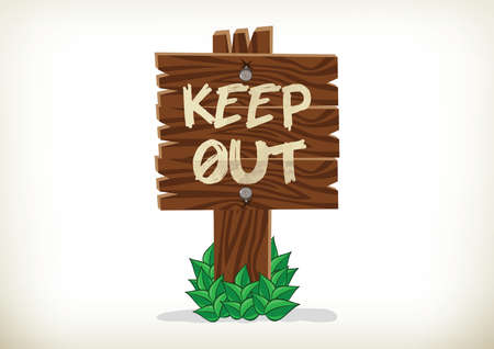 Keep Out Sign on wooden sign Stock Vector - 28031419