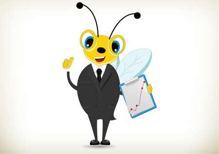 Illustration of Hardworking Bee Illustration