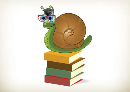 educated: Educated snail sitting on books Illustration