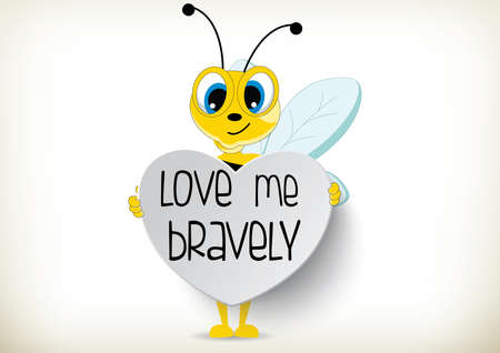 Illustration of cartoon bee holds paper heart