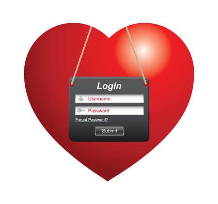 Illustration of heart shape with login sign Illustration
