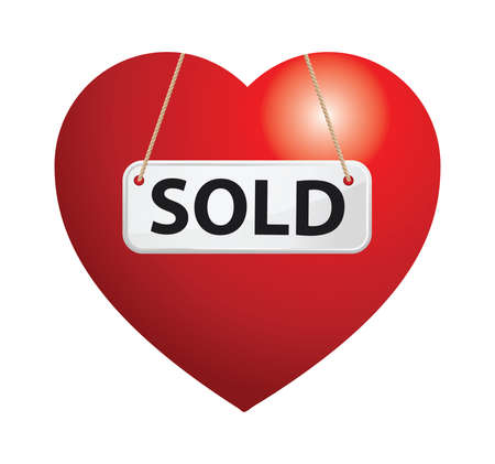 Illustration of heart shape with sold sign