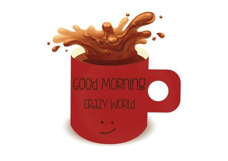 good break: Ilustraci�n de la taza de caf� roja con salpicaduras Vectores