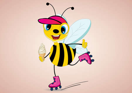 rollerskater: Illustration of cartoon roller skater bee