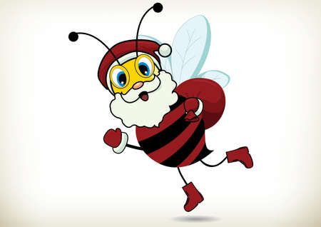 Illustration of cartoon Santa Claus bee