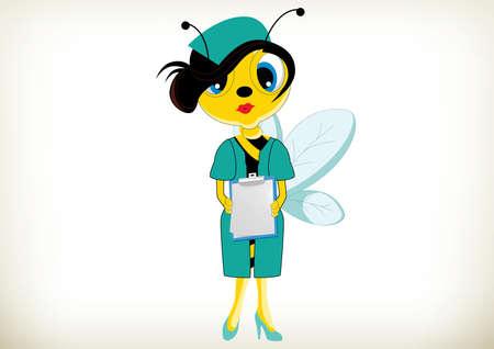 enfermero caricatura: Ilustraci�n de la historieta de la enfermera de la abeja Vectores