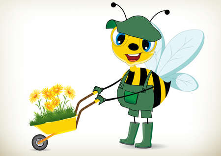 bee garden: Illustration of cartoon gardener bee Illustration