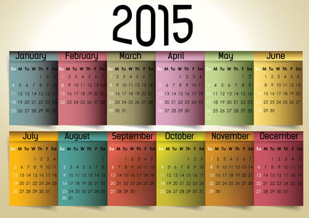 Colorful calendar 2015 in us style, start on sunday, each month with individual table. Vector