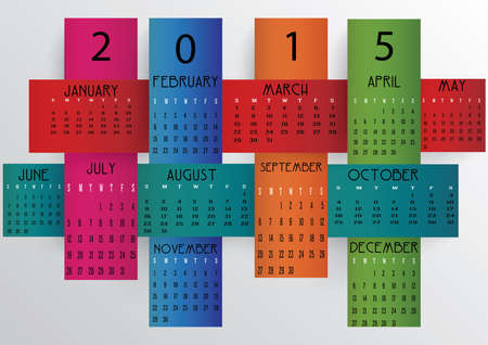 Colorful 2015 calendar in us style, start on sunday, each month with individual table. Illustration