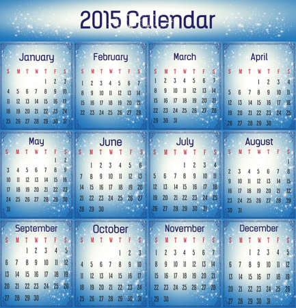 Blue color calendar in us style, start on sunday, each month with individual table.