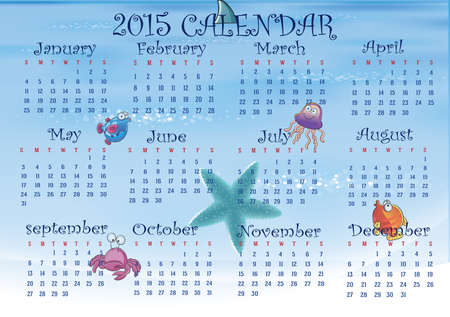 Sea concept calendar in us style, start on sunday, each month with individual table. Vector